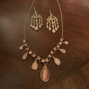 Gold with peach/pink necklace and earring set
